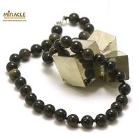 "Collier obsidienne doré, ""perle ronde 10 mm"""