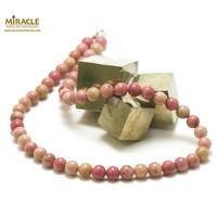 """collier rhodonite, perle """"ronde 8 mm"""""""