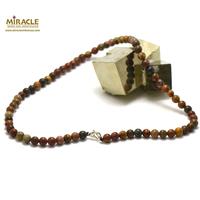 "collier en jaspe picasso, perle ""ronde 6 mm"""