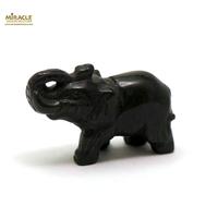 """Magnifique statuette """"éléphant"""" en pierre naturelle d'obsidienne noir"""