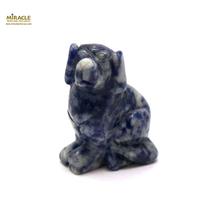 """Magnifique statuette """"chien"""" en pierre naturelle de sodalite"""
