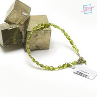 "Bracelet péridot, perle ""mini galet"""