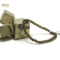"""bracelet quartz fumé, """"perle ronde 4 mm"""""""