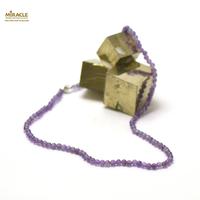 collier améthyste en perle ronde 4 mm