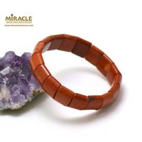 """bracelet jaspe rouge """"plaquette rectangle bombé"""""""