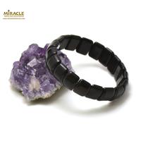 """bracelet obsidienne noir """"plaquette rectangle bombé"""""""