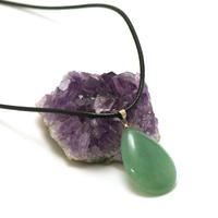 """pendentif/collier aventurine """"goutte plate"""", pierre naturelle"""