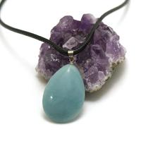 "pendentif/collier amazonite ""goutte plate"", pierre naturelle"