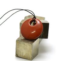 """pendentif/collier jaspe rouge """"donut décentré 30 mm"""", pierre naturelle"""