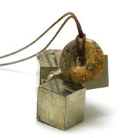 "pendentif/collier jaspe paysage ""donut 30 mm"", pierre naturelle"