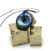 """pendentif/collier labradorite """"donut 30 mm"""", pierre naturelle"""