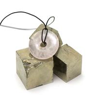"""pendentif/collier quartz rose """"donut 30 mm"""", pierre naturelle"""