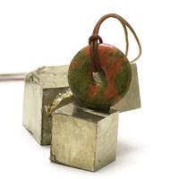 "pendentif/collier unakite ""donut 30 mm"", pierre naturelle"