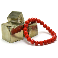 Bracelet corail /bambou de mer, ronde 8 mm