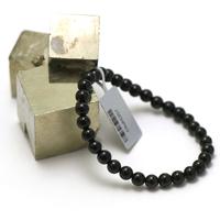 """bracelet tourmaline noir, perle """"ronde 6 mm"""""""