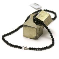 """collier en tourmaline noir, perle """"ronde 4 mm"""""""