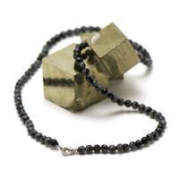"""collier en obsidienne neige, perle """"ronde 4 mm"""""""