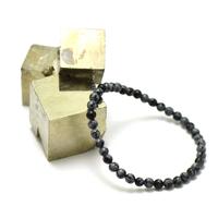 """bracelet obsidienne neige, perle """"ronde 4 mm"""""""