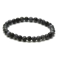 """bracelet obsidienne neige, perle """"ronde 6 mm"""""""