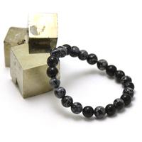 """bracelet obsidienne neige, perle """"ronde 8 mm"""""""