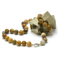 "collier en agate crazy lace, perle ""ronde 10 mm"""