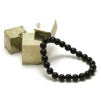 "bracelet obsidienne noir, perle ""ronde 8 mm"""