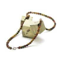 "collier en jaspe picasso, perle ""ronde 4 mm"""