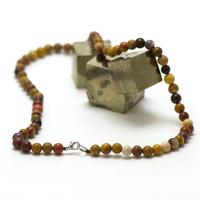 """collier en jaspe mokaïte, perle """"ronde 6 mm"""""""