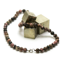 "collier rhodonite de Madagascar, perle ""ronde 8 mm"""