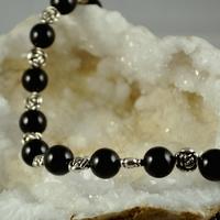 "Collier Onyx ""ronde 12 mm- perles métalliques"""