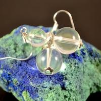 """Boucle d'oreille cristal de roche """"double perle ronde -12 mm, 8mm"""""""