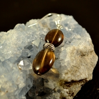 """Boucle d'oreille Quartz fumé """"double perles ovales plates-métal"""""""