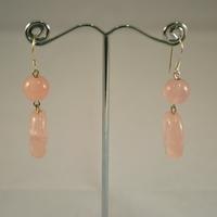"""Boucle d'oreille quartz rose """" ronde -galet plat ovale"""""""
