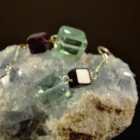 """Boucle d'oreille Fluorite """"triple cubes taille dégradée"""""""