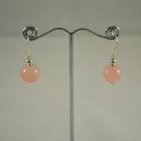"""Boucle d'oreille  quartz rose """"perle ronde 10mm"""""""