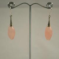 """Boucle d'oreille quartz rose  """"lustre ovale facetté"""""""