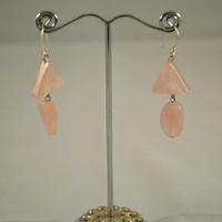 """Boucle d'oreille quartz rose """"triangle - ovale"""""""