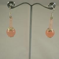 """Boucle d'oreille quartz rose, """"boule-cylindre"""""""