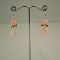 """Boucle d'oreille """"perle ronde-rose-ovale vague"""""""