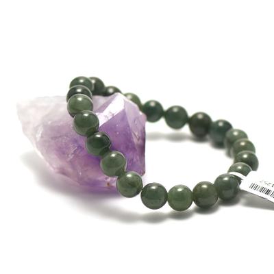 ronde 10 mm vert foncé bracelet pierre naturelle de jade