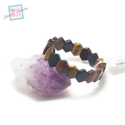 plaquette hexagonale bracelet pierre naturelle trois oeil