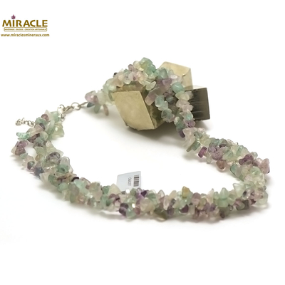 3 rangs chips 1 collier en pierre naturelle de fluorite