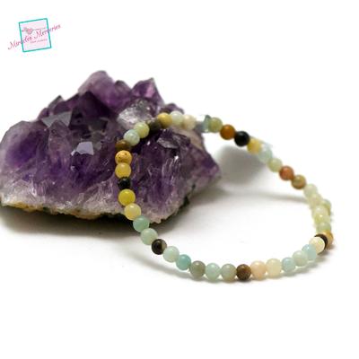 Perle ronde  4 mm bracelet en pierre naturelle d'amazonite brut