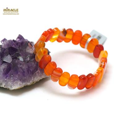 plaquette  cornaline oval fin bracelet en pierre naturelle de cornaline