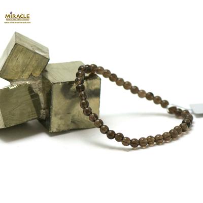 ronde 4 mm bracelet en pierre naturelle de quartz fumé