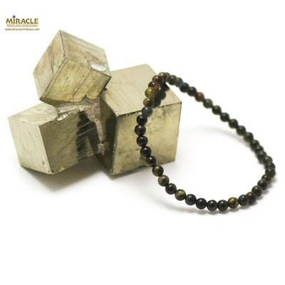 ronde 4 mm 1 bracelet en pierre naturelle d'oeil de faucon