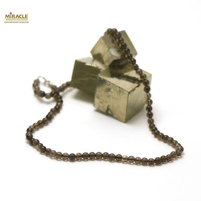 ronde 4 mm  collier en pierre naturelle de quart fumé