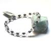 """Bracelet cristal de  roche , """" perle ronde  6 mm - ronde argenté 5 mm """""""