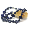 """Collier lapis lazuli , """"perle carré plat- perle ronde 8 mm"""""""