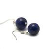 """boucle d'oreille lapis lazuli , """" perle ronde 12 mm """""""